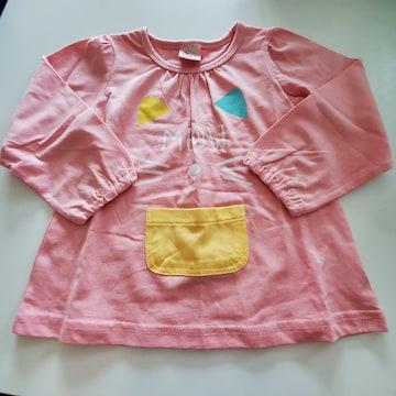 ピンクにネコの顔模様、長袖Tシャツ100