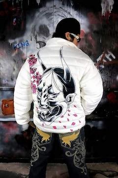 般若 桜 中綿 ジャケット 白 ヤクザ オラオラ メンズ 服 上着 和柄 136■XL