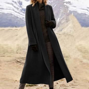 新品大きいサイズ4L(〜5L6L)マキシ丈コート 黒