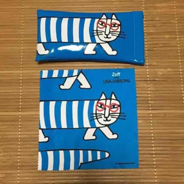 zoff×リサラーソン・猫のマイキー柄メガネケース。ブルー  < ヘルス/ビューティーの