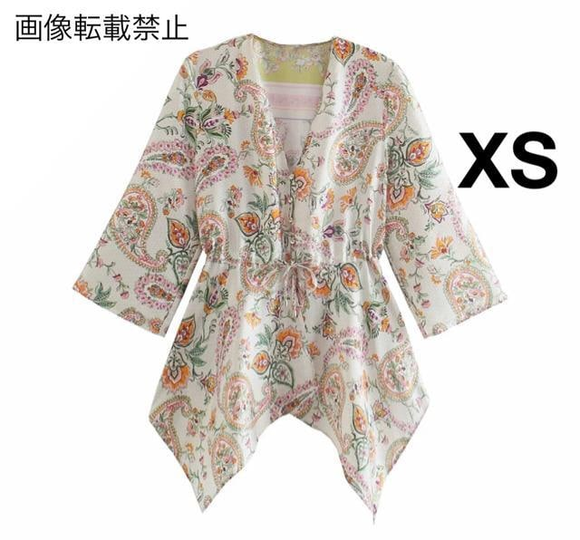 ヴィンテージ風 花柄 アシメ ブラウス ZARAお好きな方に★ XS  < 女性ファッションの