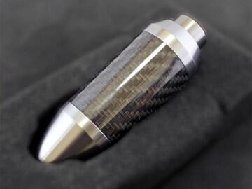 プッシュボタン付AT用カーボン巻アルミニウム製シフトノブガンメタxブラック