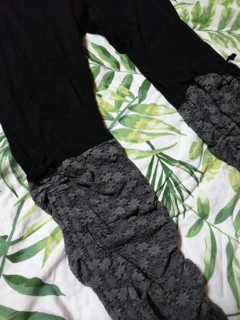 新品 超激カワブラック&グレー花柄レース大きいサイズレギンス(///ω///)♪8L < 女性ファッションの