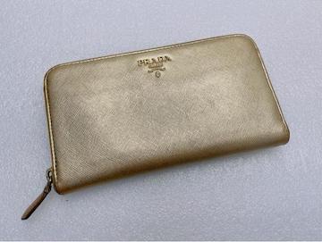 D490 プラダ PRADA 長財布 ラウンドファスナー ゴールドカラー