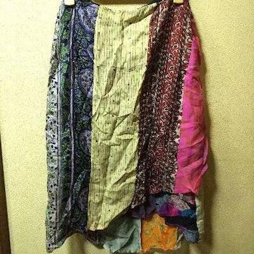 WORLD BAZAAR新品★シルク100パッチワークラップスカートF