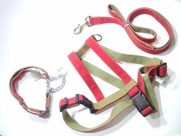 フルセット赤/緑3点送円25kg30kg首輪40~64胴輪68~80引紐135cm愛犬散歩