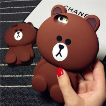 新品 iPhone�] LINE ブラウン シリコン ケース カバー