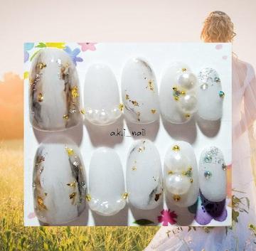 ジェルネイルチップ☆付け爪~シアーグレー×パール ニュアンス
