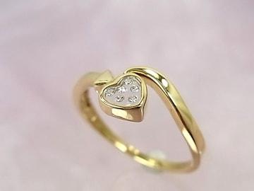 ハートの中にダイヤモンド…18K メレダイヤリング r-929 極美★dot
