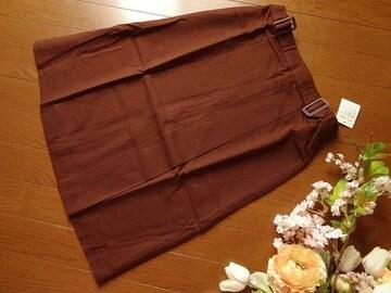 新品Tip Tip茶膝丈ボックスプリーツスカートSサイズ61-89