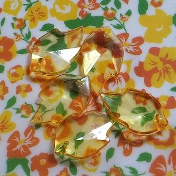 【未使用】アクリル葉っぱビーズ(オレンジ)