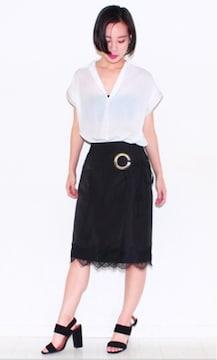黒ハリサテンフラワーレースリボン巻きスカートラップスカート