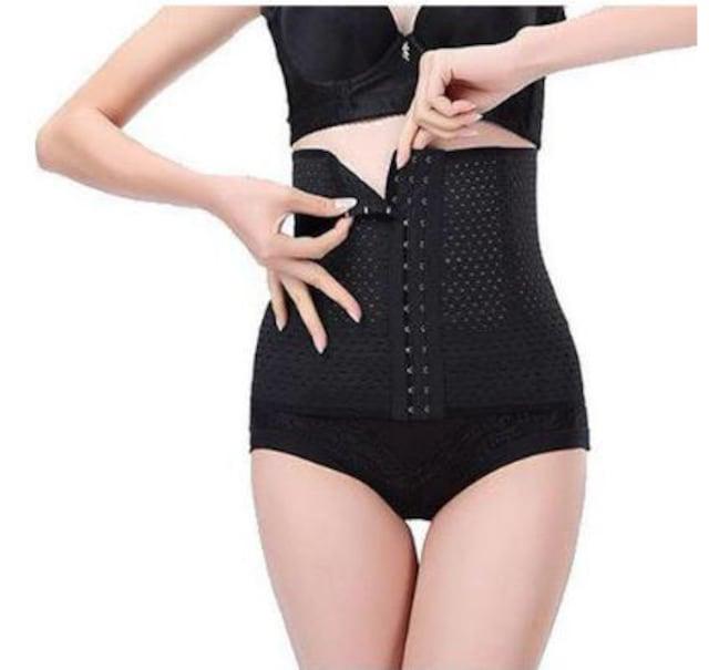 【ブラック:XS】 ダイエット用 コルセット ウエストニッパー  < 女性ファッションの