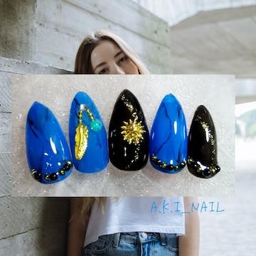 No386.ジェルネイルチップ/付け爪~フェザー&太陽☆ターコイズ