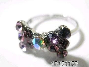 《New》ageha掲載★キラキラ*パヴェリボン・リング/指輪<パープル>【箱付】