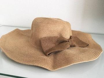 ブラウン茶色リボンハット折り畳みOK帽子リゾート海プールつば広
