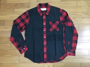 中古AFFA×アンダーカバーM長袖シャツ黒赤チェック