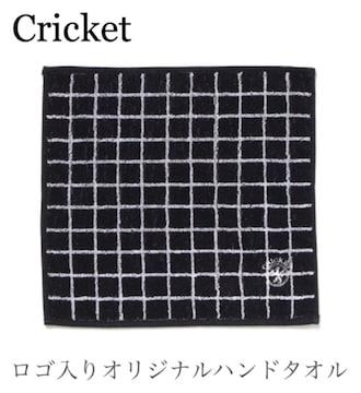 クリケット【タグ付き】ロゴ入り刺繍タオルハンカチ●黒ブラック