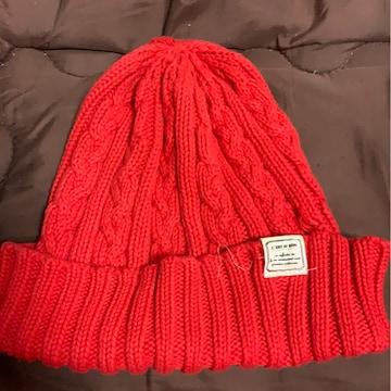 赤シンプル☆ニット帽