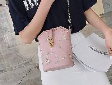 新品パール調スタッズフラワー花柄ショルダーバッグ桃色ピンク