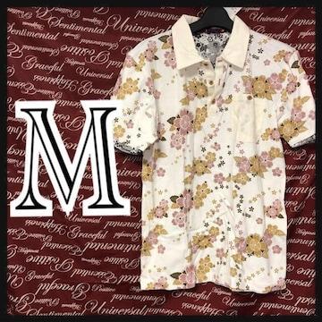 M・和柄桜総柄ポロ新品白/MCR407-ne1
