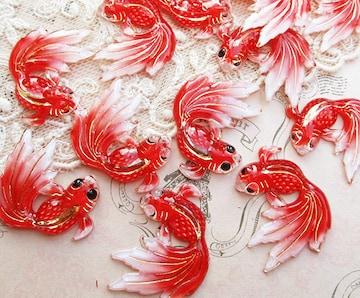 金魚アクリルチャーム/カボション4個赤色