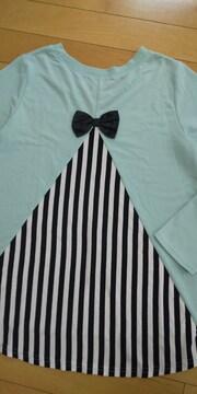 激可愛☆ラインストーン付Tシャツ♪長袖 背中リボン 150 丈長