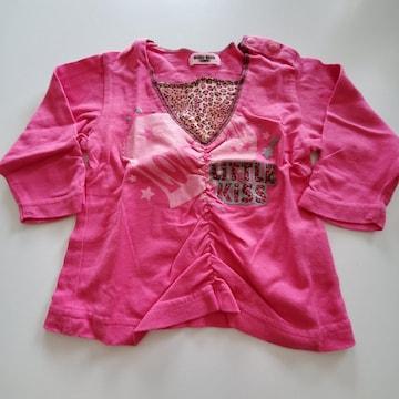 ピンクのヒョウ柄襟の長袖Tシャツ70