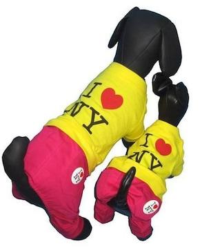 J07)Sサイズ!バッジ付I LoveNYつなぎ犬服Dogセレブ配色ハート