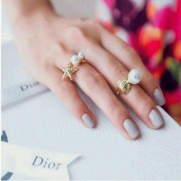 パール真珠 シェル貝殻 指輪 ゆびわ ファランジリング