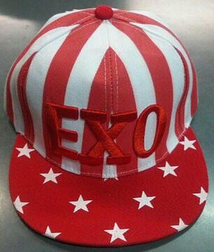 新品☆エクソ☆スター赤白キャップ☆赤白ロゴ帽子☆EXO韓流