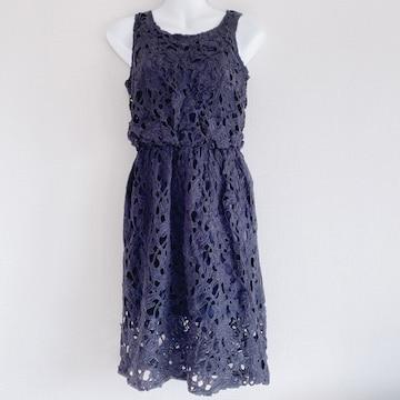 ROYALPARTY黒バテンレースフラワー花シースルーワンピースドレス