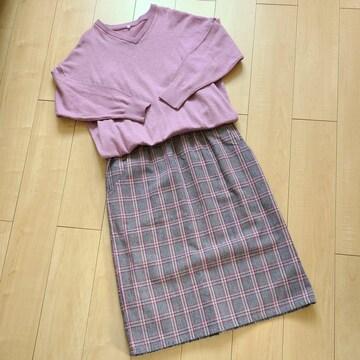 大きいサイズ タンクトップ付きドッキング Iラインスカート