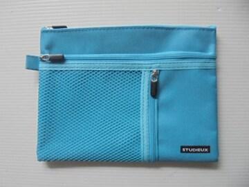 STUDIEUX メッシュケース 3ポケット付き B6ブルー長期保管品新品