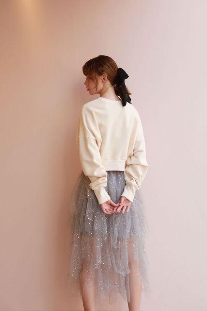MESSAGED'AMOURグレースパークリングスカートチュールアシンメトリーレースシフォン < 女性ファッションの