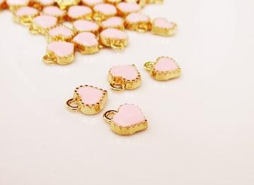 ミニハートチャーム10個ピンク