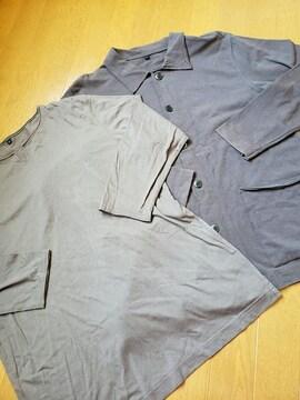 ☆USED☆無印良品計画☆茶色ジャケット&七分袖Tシャツ2点セット☆L