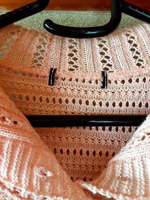日本製 ニット セーター トップス 半袖 冬 洋服 ピンク レディー < 女性ファッションの