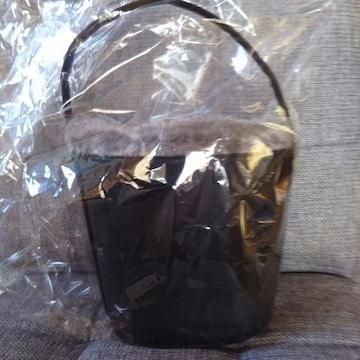 バケツ型 ファ付バック 新品 黒