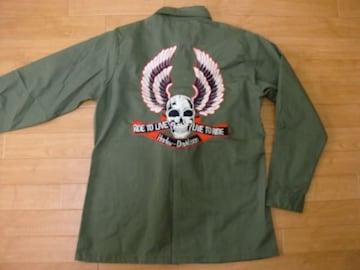 ハーレーダヴィッドソン刺繍 アメリカ軍 ミリタリーシャツ M