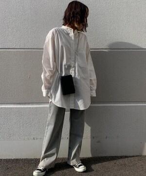 新品インフルエンサー×NICE CLAUP BIGサイズノーカラーシャツ