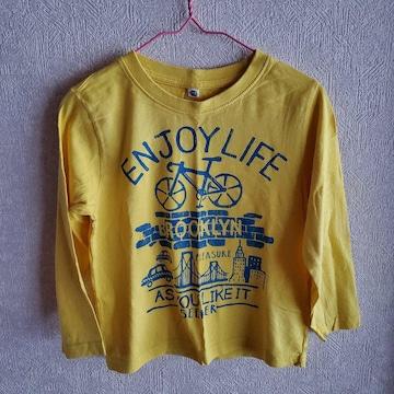 黄色に自転車柄の長袖Tシャツ110