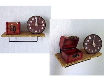 ハンドメイド◆フックバー ウォールシェルフ  時計小物入れ