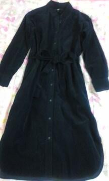 UNIQLOコーデュロィ素材ウエストリボン結び両裾スリット入りワンピ紺色