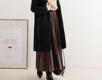 夢展望★エコレザー プリーツ ロングスカート