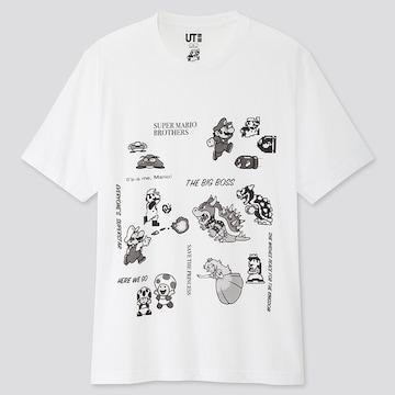 UNIQLO スーパーマリオ 35周年 モノクロ 半袖Tシャツ XXL