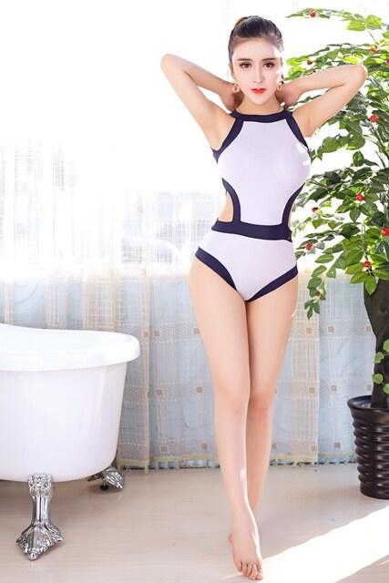 紺白 レオタード セクシースクール水着 コスプレ衣装 < 女性ファッションの