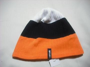 mb771 男 RIP CURLリップカール ニット帽 裏フリース 橙黒白