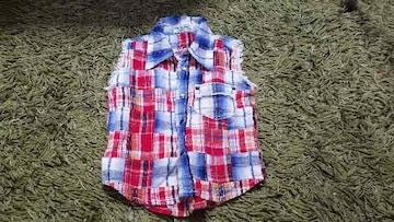 ★美品★BOO HOMES★袖なしチェックシャツ★1回着用のみ★