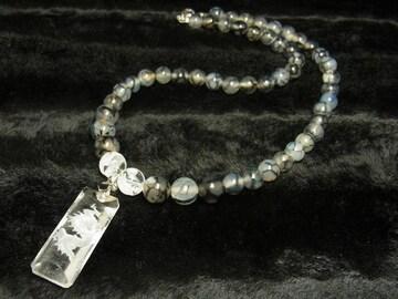 夢を叶える数珠 浮彫龍水晶プレート 龍紋石 ドラゴンアゲートネックレス